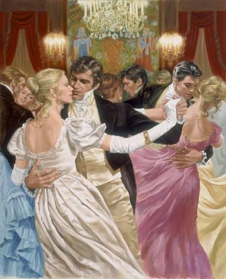 Kristin Holt | Victorian Dancing Etiquette. Artwork of candlelight ballroom, dancing couples. Courtesy of Pinterest.