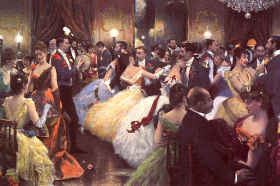 Kristin Holt | Victorian Dancing Etiquette. Vintage painting: The Hunt Ball (1885) by Julius LeBlanc Stewart. Includes portraits of actress Lillie Langtry and Baron Rothschild. Image: courtesy of Pinterest.