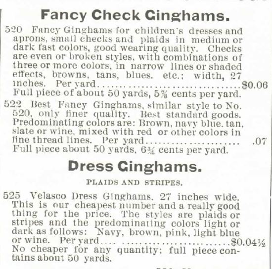 Kristin Holt | Gingham? Why gingham? Dress Gingham listings in the Montgomery Ward & Co. Catalogue, Spring and Summer 1895.