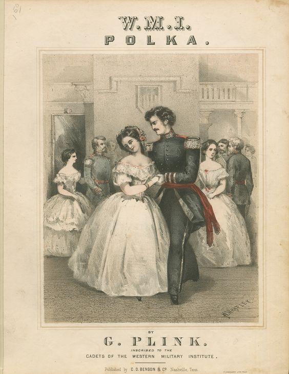 Kristin Holt | Victorian Dancing Etiquette. Artist's image of a polka, mid-nineteenth century. Image: Pinterest.