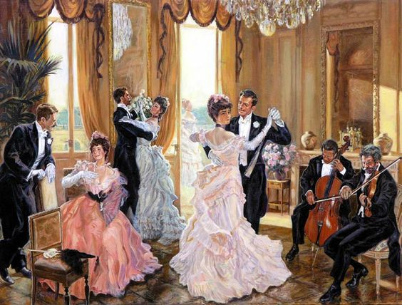 Kristin Holt | Victorian Dancing Etiquette. Color image of Victorian couples dancing to orchestral music. Image: Pinterest.