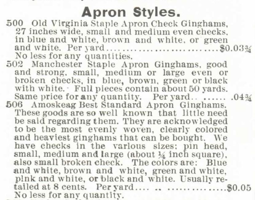 Kristin Holt | Gingham? Why gingham? Apron Styles of gingham offered in the Montgomery Ward & Co. Catalogue, Spring and Summer, 1895.