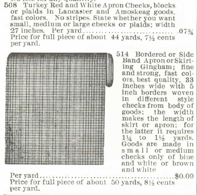 Kristin Holt | Gingham? Why gingham? Image 2 of 2: Apron ginghams sold in Montgomery Ward & Co. Catalogue, Spring and Summer 1895.