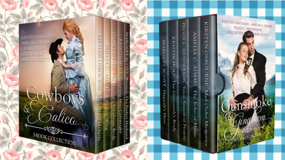 Kristin Holt | Gingham? Why gingham? Image of two boxed sets by multiple authors: Cowboys & Calico and Gunsmoke & Gingham