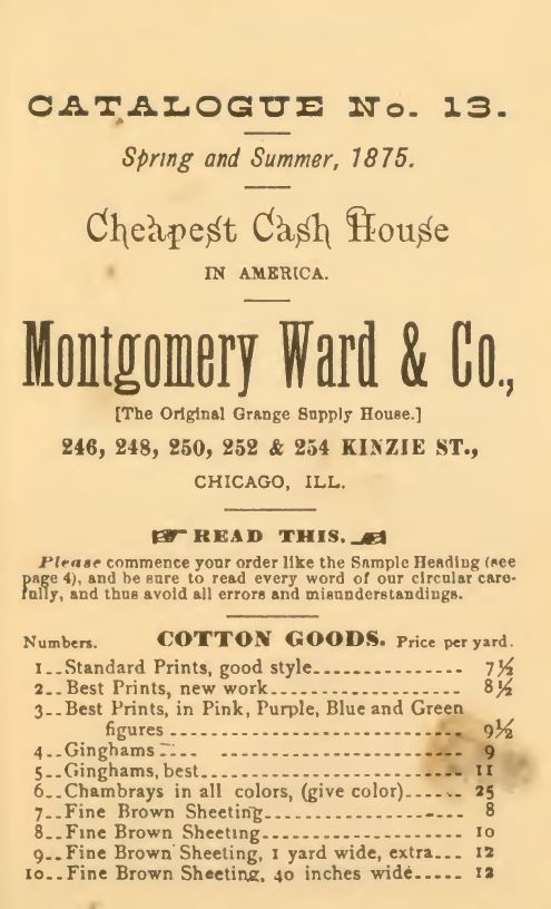 Kristin Holt | Gingham? Why gingham? From Montgomery, Ward & Co. Catalogue No. 13, Spring and Summer, 1875. List of Cotton Goods.