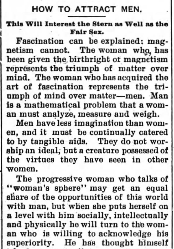Kristin Holt | How to Attract Men, Part 1. Newspaper article: The Sun and the Erie County Independent of Hamburg, New York, April 6, 1894.