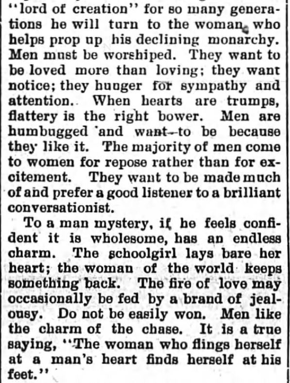 Kristin Holt | How to Attract Men, Part 2. Newspaper article: The Sun and the Erie County Independent of Hamburg, New York, April 6, 1894.