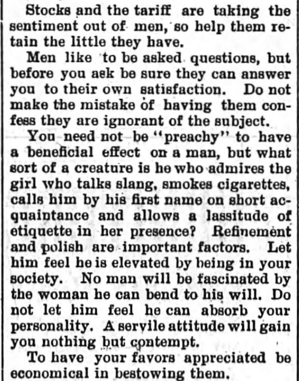 Kristin Holt | How to Attract Men, Part 3. Newspaper article: The Sun and the Erie County Independent of Hamburg, New York, April 6, 1894.