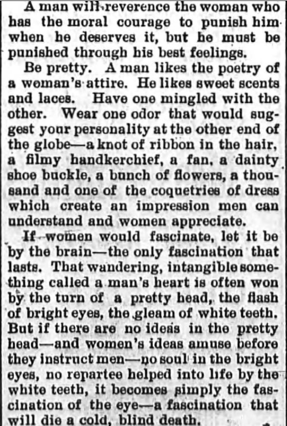 Kristin Holt | How to Attract Men, Part 4. Newspaper article: The Sun and the Erie County Independent of Hamburg, New York, April 6, 1894.