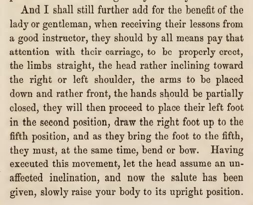 Kristin Holt | Victorian Dancing Etiquette. How men should properly bow, from The Amateur's Preceptor on Dancing and Etiquette by Prof. D. L. Carpenter of Philadelphia, 1854.