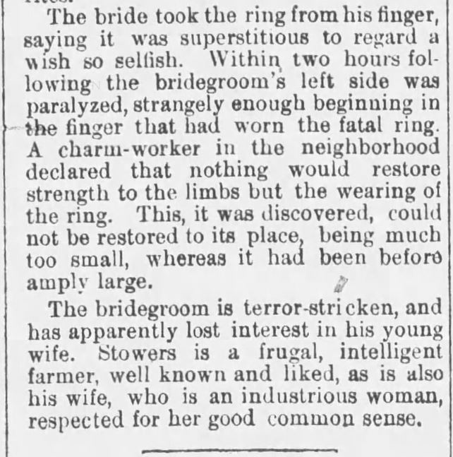 Kristin Holt | Paralized Bridegroom: January 15, 1888. Part 2 of newspaper article from The Sunday Leader of Wilkes-Barre, Pennsylvania on January 15, 1888.