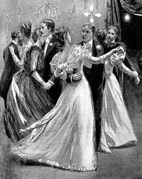 Kristin Holt | Victorian Dancing Etiquette. Black and white artist's illustration of late nineteenth-century couples dancing. Notice the hand positions. Image: Courtesy of Pinterest.