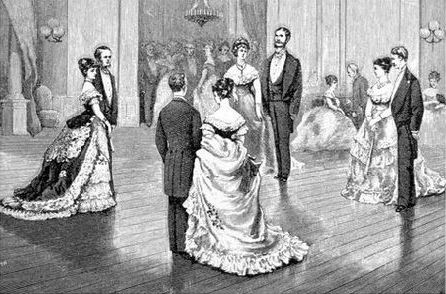 Kristin Holt | Victorian Dancing Etiquette. Vintage black-and-white illustration of couples on ballroom floor. Image: Pinterest.