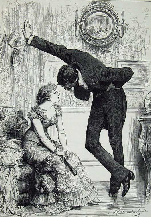 Kristin Holt | Victorian Dancing Etiquette. Artist's image of a gentleman conversing with a lady. Courtesy of Pinterest.