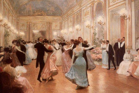 Kristin Holt | Victorian Dancing Etiquette. Dancers in a Gilded Age ballroom. Image: Pinterest.