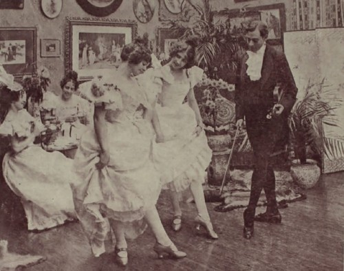 Kristin Holt | Victorian Dancing Etiquette. Victorian-era photograph of dancing master with young lady dancing pupils. Image: We Heart It.
