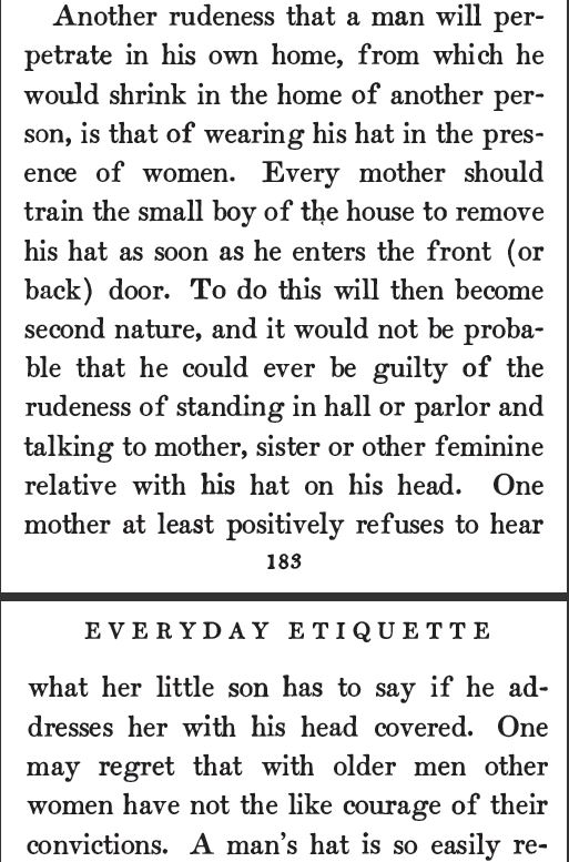 Kristin Holt | Related Article to Hat Etiquette: <em>Everyday Etiquette: A Practical Manual of Social Usages</em> by Marion Harland and Virginia Van de Water </a></span>(1905), pp 183-184.