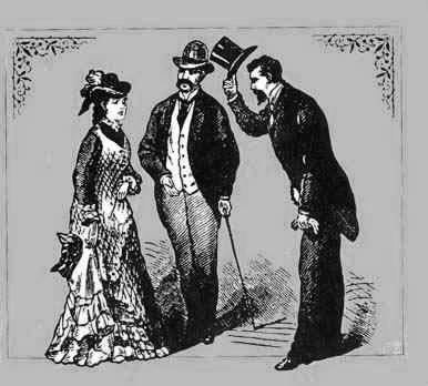 Kristin Holt | Victorian artist's rendition of a man greeting a woman, doffing his hat and bowing to her in social greeting. Image credited to Ask Andy About Clothes.com