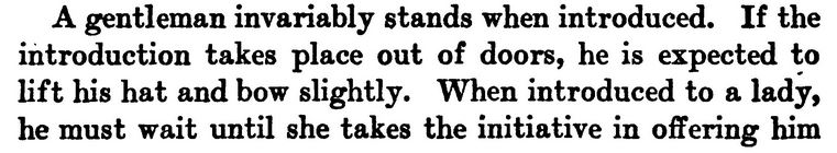 Image: Paragraph from Book of Etiquette by Lillian Eichler, 1922, Part 1 of 2.