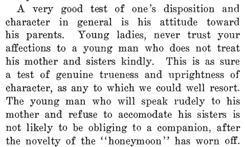 "Kristin Holt | Segment of ""Private Lectures to Mothers and Daughters on sexual purity including love, courtship, marriage, sexual physiology, and the evil effects of tight lacing. By Daniel Otis Teasley. Published in or before 1904. Article stresses: Truth in Courtship."