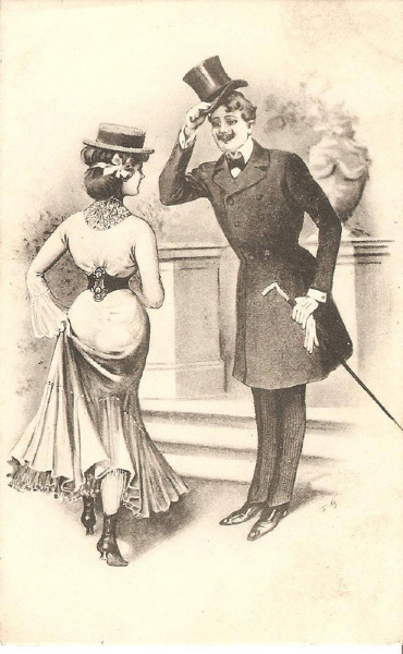 Kristin Holt | Vintage drawing of Victorian man doffing his hat properly to a woman, Hat Etiquette