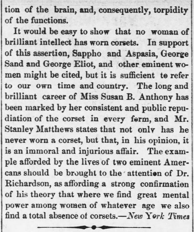 "Kristin Holt | Corsets: Damaging Woman's Intelligence (1880). ""Woman's Brain.--How it is Being Deadened and Destroyed by Fashion, with Dr. Richardson."" Reported in Kansas Farmer of Topeka, Kansas on May 5, 1880. Part 5."