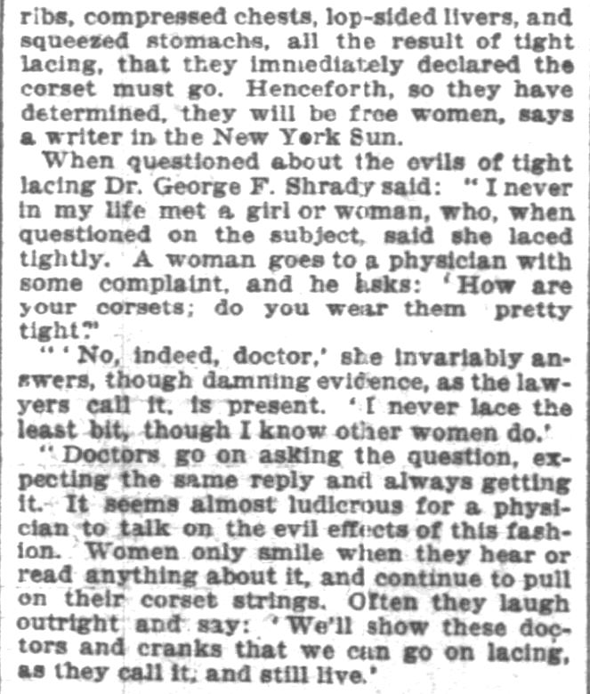 Kristin Holt | Defect in Form: Evils of Tight Lacing (a.k.a. Corsets), 1897. From Chicago Daily Tribune of Chicago, Illinois on April 24, 1897: Shows Defect in Form... may induce women to drop corsets. (Part 5 of 10)
