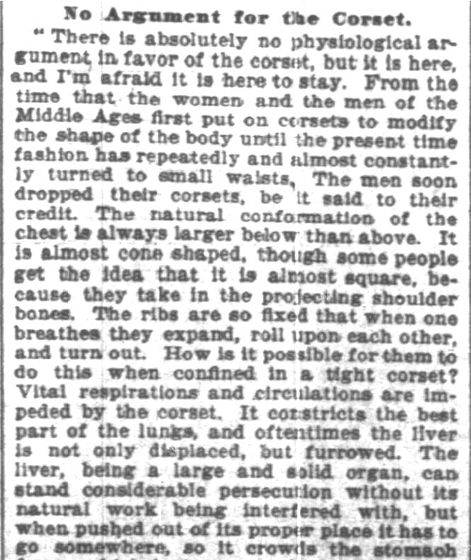 Kristin Holt | Defect in Form: Evils of Tight Lacing (a.k.a. Corsets), 1897. From Chicago Daily Tribune of Chicago, Illinois on April 24, 1897: Shows Defect in Form... may induce women to drop corsets. (Part 6 of 10)