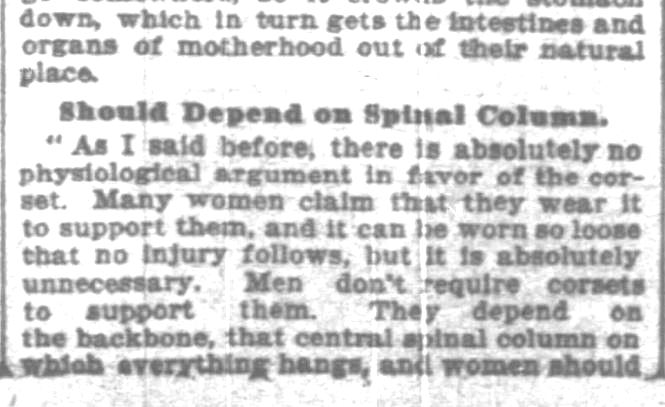 Kristin Holt | Defect in Form: Evils of Tight Lacing (a.k.a. Corsets), 1897. From Chicago Daily Tribune of Chicago, Illinois on April 24, 1897: Shows Defect in Form... may induce women to drop corsets. (Part 7 of 10)