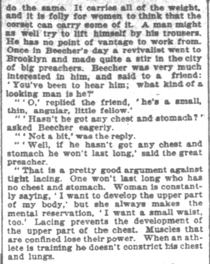 Kristin Holt | Defect in Form: Evils of Tight Lacing (a.k.a. Corsets), 1897. From Chicago Daily Tribune of Chicago, Illinois on April 24, 1897: Shows Defect in Form... may induce women to drop corsets. (Part 8 of 10)