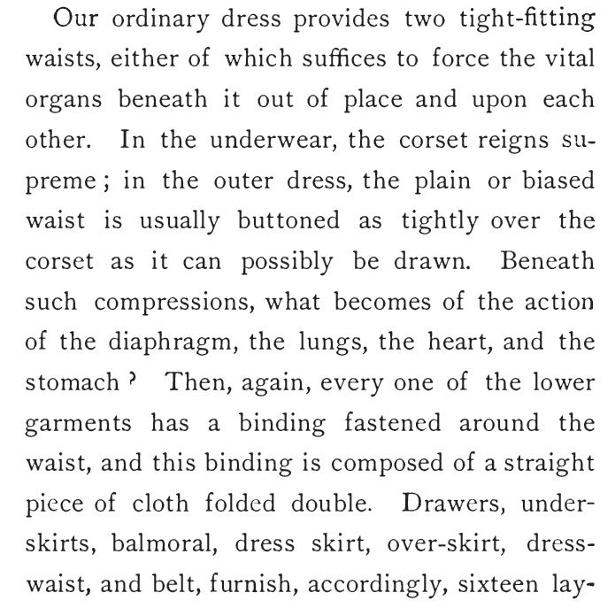 Kristin Holt | Defect in Form: Evils of Tight Lacing (a.k.a. Corsets), 1897. Quote from 'Dress Reform', 1874, Part 1.