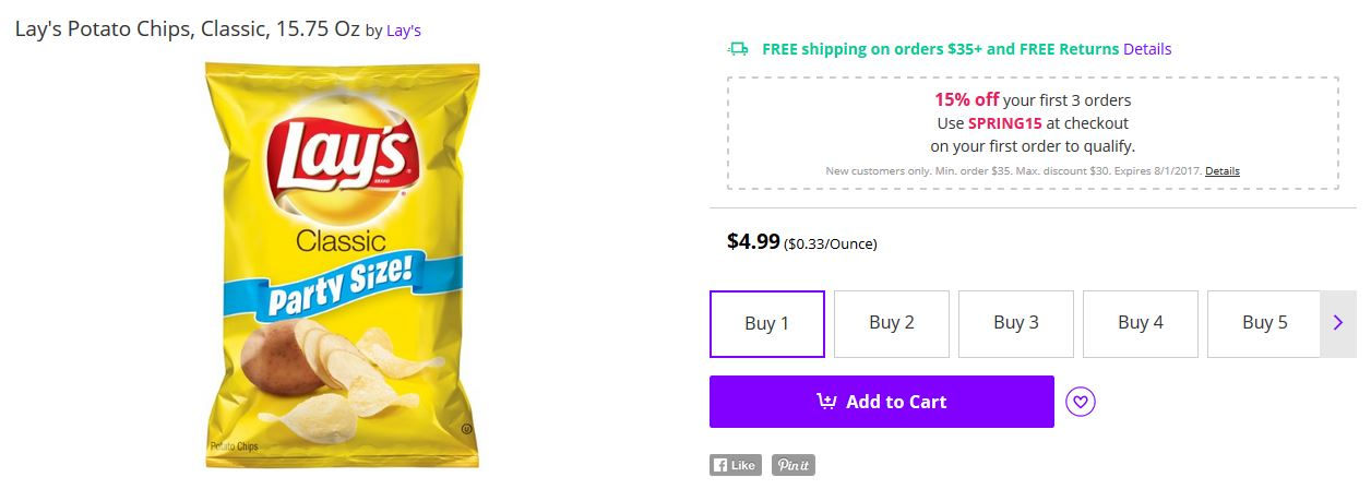 Kristin Holt   Potato Chips in the Old West. Image of Lay's Potato Chips, Classic, Party Size, showing a current price for an online purchase.