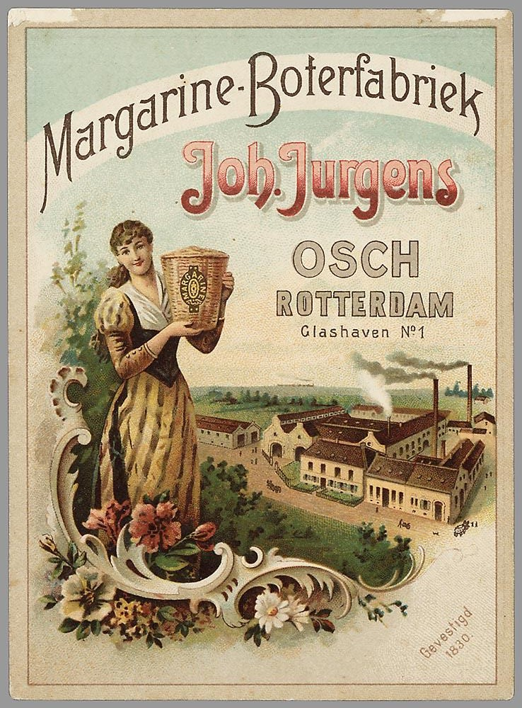 Kristin Holt | This Day in History: May 21. Trade Card advertisement: Margarine-Boterfabriek, Joh. Jurgens, Osch, Rotterdam. Vintage artwork in color.