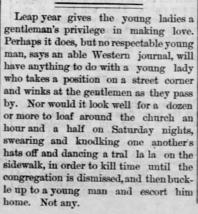 Kristin Holt | This Day in History: May 21. Leap Year, Reversal of Roles, published in Walnut Valley Times, El Dorado, Kansas, May 21, 1880.