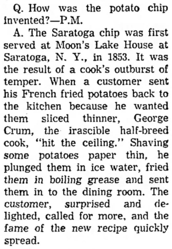 Kristin Holt | Potato Chips in the Old West. Recounting of the Invention of Potato Chips by George Crum, published in <em>The Bakersfield Californian</em> of Bakersfield, California, on January 27, <strong>1955</strong>.