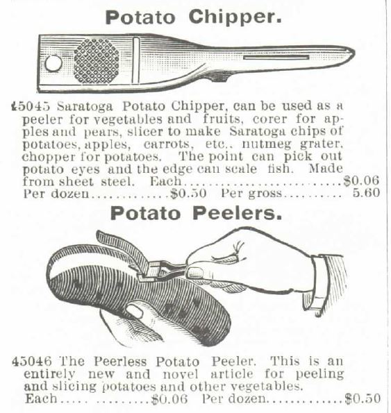 Kristin Holt | Potato Chips in the Old West. Image shows a potato chipper and potato peelers for sale in the1895 Montgomery Ward Spring and Suymmer Catalog, page 436.
