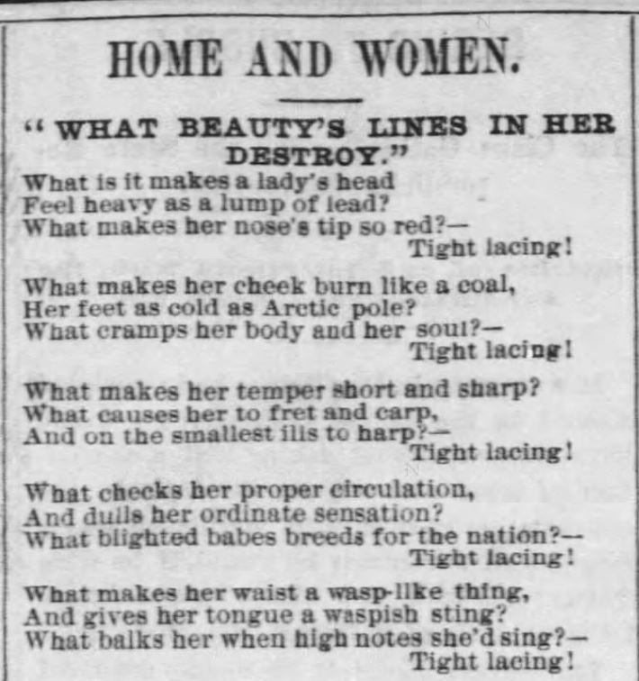 Kristin Holt | Corsets: Tight Lacing! (1879). Home and Women: poetry about tight lacing. Part 1 of 3.