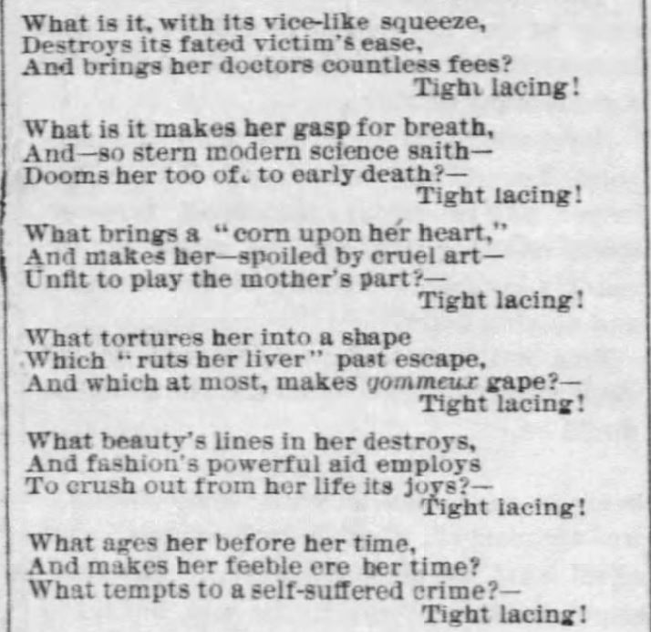 Kristin Holt | Corsets: Tight Lacing! (1879). Home and Women: poetry about tight lacing. Part 2 of 3.