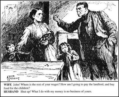Kristin Holt | Victorian America: Women Control Happiness at Home (1876). Vintage illustration of an angry man shaking a fist at a poor woman and thin, poorly dressed children. Image courtesy of Spartacus Educational.