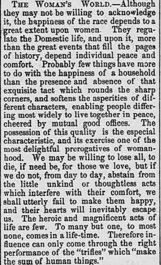Kristin Holt | Victorian America: Women Control Happiness At Home. Published in The Intelligencer of Anderson, South Carolina on march 23, 1876.