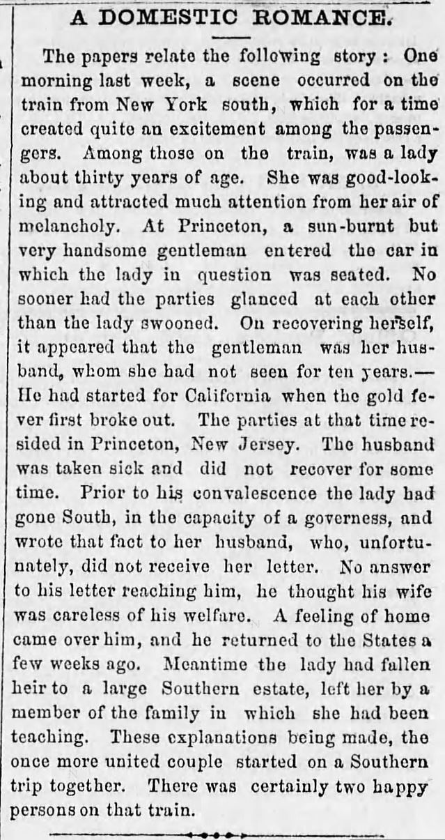 Kristin Holt | This Day in History: August 30. A Domestic Romance; A Married Couple reunites by Fate. Altoona Triubune of Altoona, Pennsylvania. August 30, 1860.