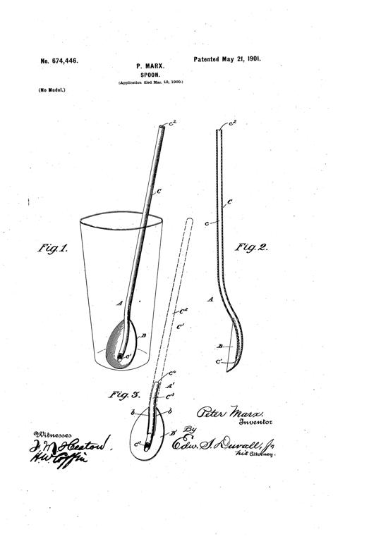 Kristin Holt | The Victorian-era Soda Fountain. P. Marx's Spoon Patent, awarded May 21, 1901. U.S. Patent No 674,446. Image: Google.