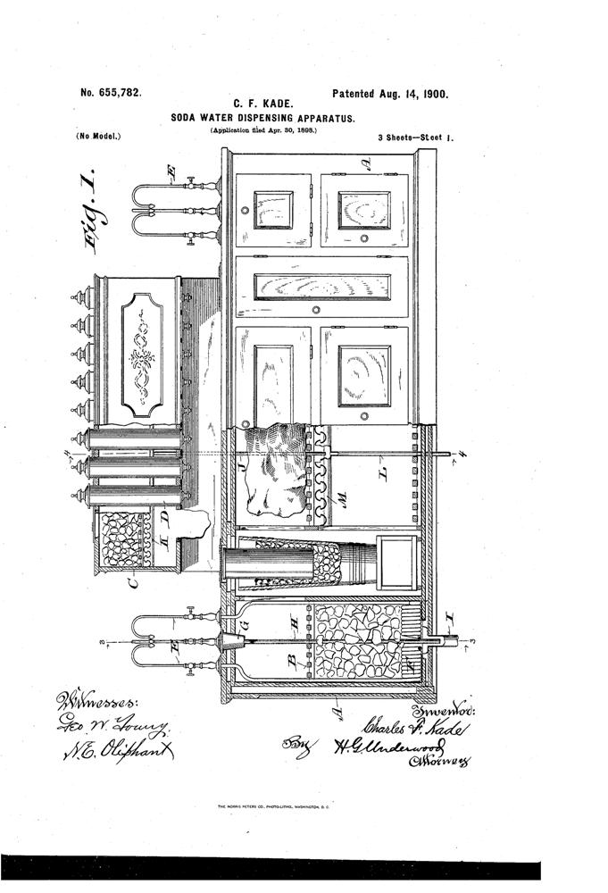 Kristin Holt | The Victorian-era Soda Fountain. US Patent No. 655782-0 for Soda Water Dispensing Apparatus, 1900. Image: Google. 1 of 3.