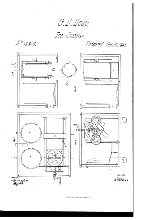 Kristin Holt | The Victorian-era Soda Fountain. Dow's Patent Ice Crusher, patented December 10, 1861. U.S. Patent No. 33,880, vintage illustration.