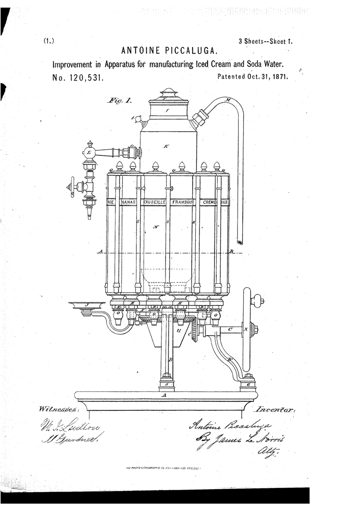 Kristin Holt | The Victorian-era Soda Fountain. Piccaluga Patent, 1871. Improvement in Apparatus for manufactirng Iced Cream and Soda Water. Patent Image, Google. Part 1 of 3.