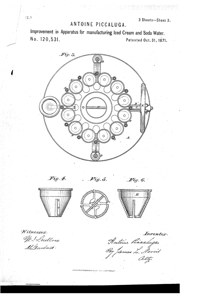 Kristin Holt | The Victorian-era Soda Fountain. Piccaluga Patent, 1871. Improvement in Apparatus for manufactirng Iced Cream and Soda Water. Patent Image, Google. Part 3 of 3.