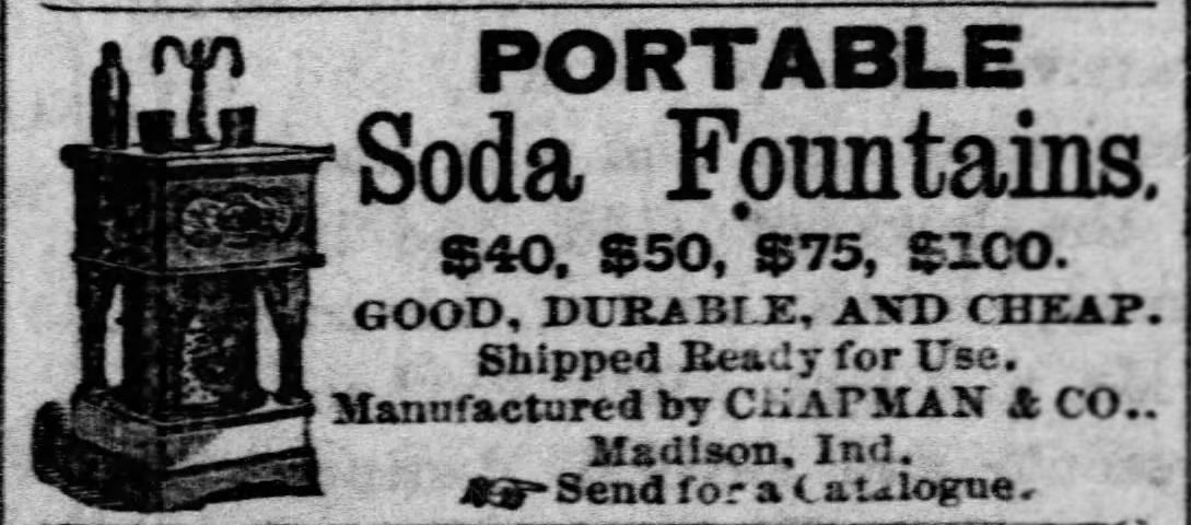 Kristin Holt | The Victorian-era Soda Fountain. Portable soda fountains advertised in The Recorder-Tribune of Holton, Kansas. June 10, 1875.