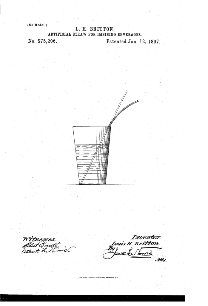 "Kristin Holt | Illustration from United States Patnet No 575,206: ""Artificial Straw for imbibing beverages, patented by L.H. Britton. January 12, 1897 patent date. Image: Courtesy of Google."