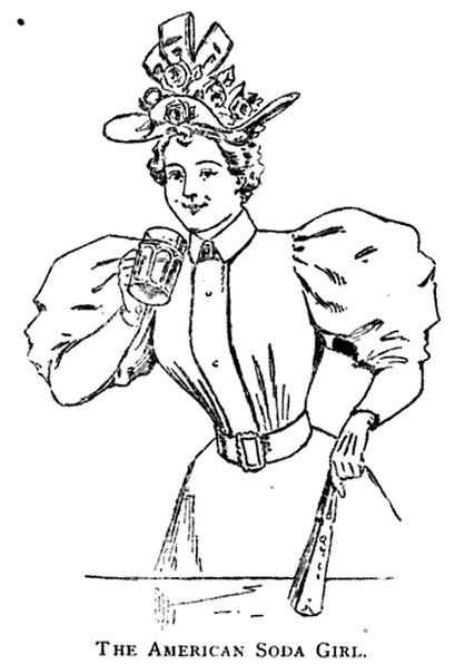 Kristin Holt | The American Soda Girl illustration. Fashion dates this line-art drawing to the mid 1890s. The Spatula Soda Water guide and Book of Formulas for Soda Water Dispensers, 1901.