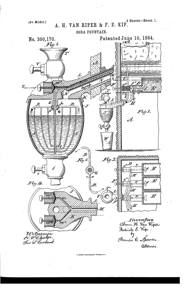 Kristin Holt | The Victorian-era Soda Fountain. Van Riper Patent, 1884, Soda Fountain. Image: Google. 1 of 2.